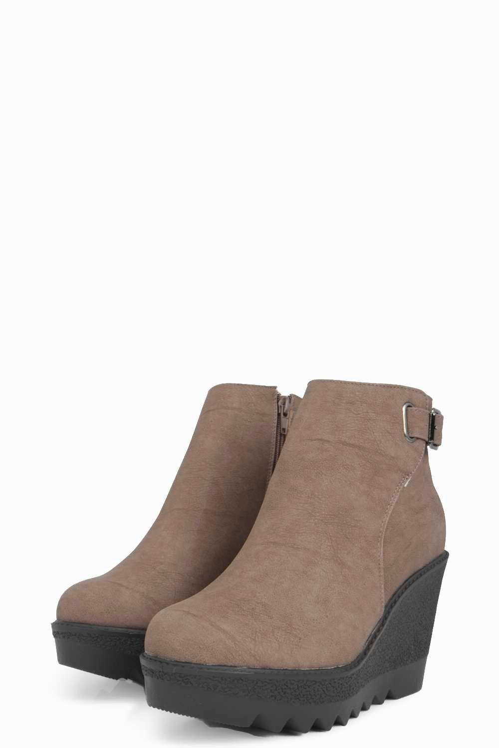 boohoo cleated sole wedge boot in lyst