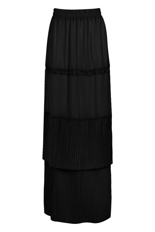 Boohoo Pleated & Tiered Chiffon Maxi Skirt in Black