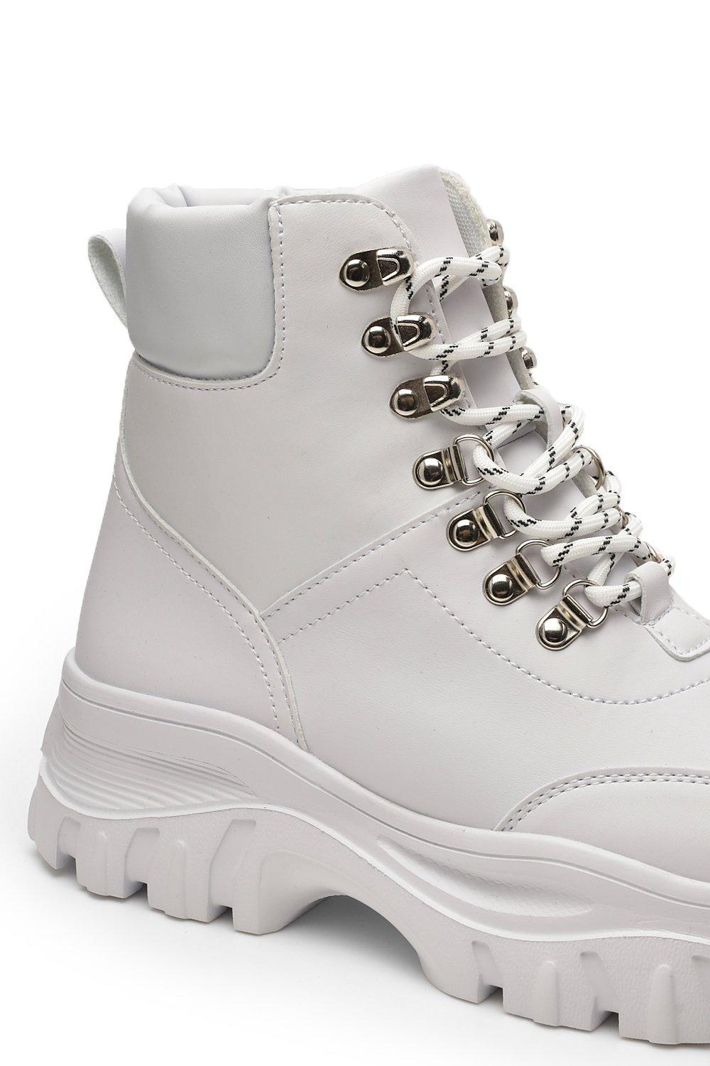 Boohoo Chunky Cleated Hiker Boots in