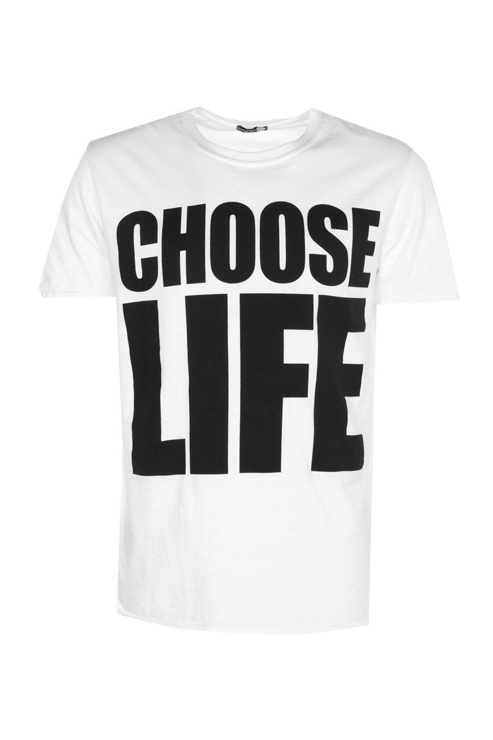 Boohoo Cotton Oversized Choose Life T Shirt In White For Men Lyst