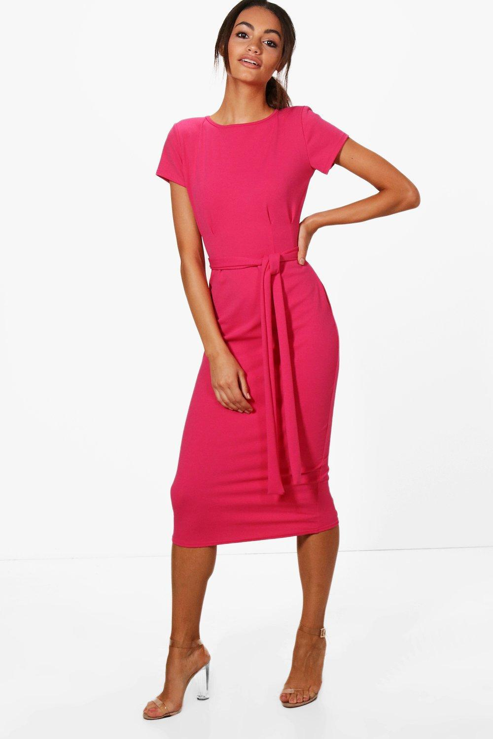 38947a8f94af Boohoo Eva Pleat Front Belted Tailored Midi Dress - Lyst