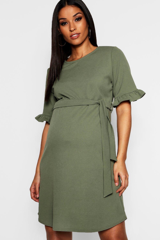 0996669e29f Boohoo Maternity Ruffle Tie Waist Smock Dress in Green - Lyst