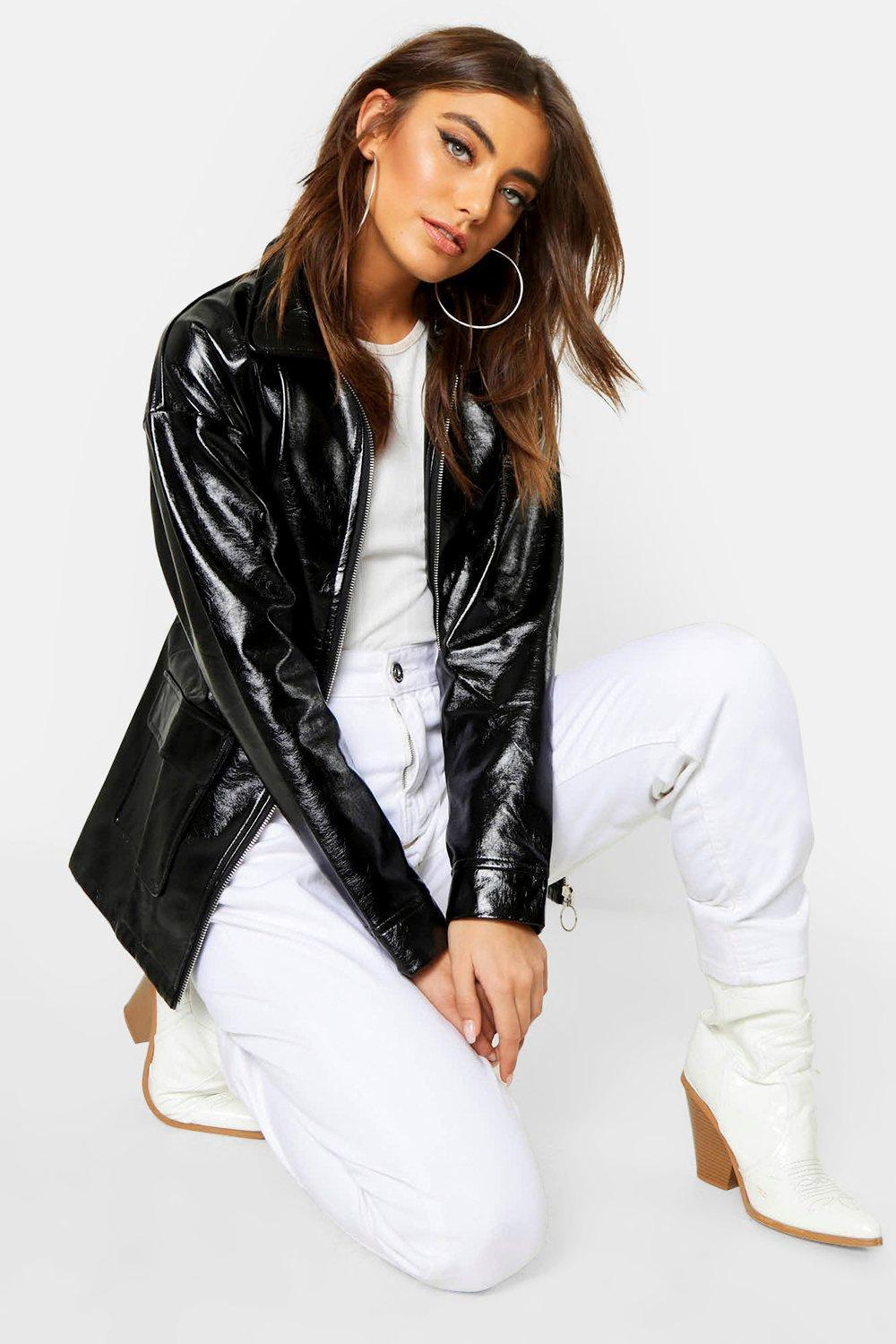 1b6989e59 Boohoo Multicolor Patent Belted Faux Leather Jacket