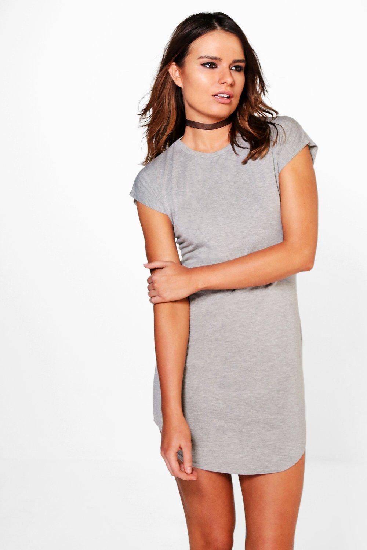 e6a648e7c Boohoo Taylor Basic Curved Hem T-shirt Dress in Gray - Lyst