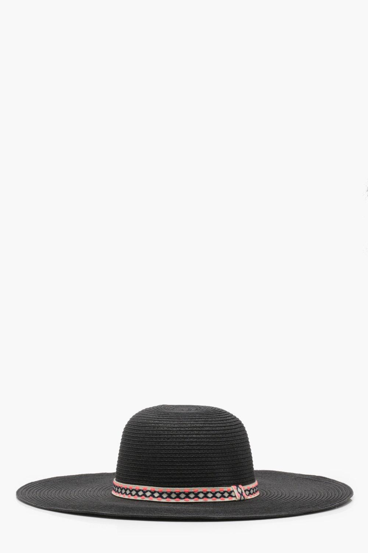 89de8925f Lyst - Boohoo Aztec Trim Straw Floppy Hat in Black