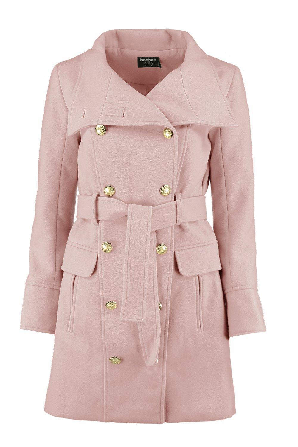 Boohoo Petite Patsy Funnel Neck Belted Military Coat in Pink | Lyst