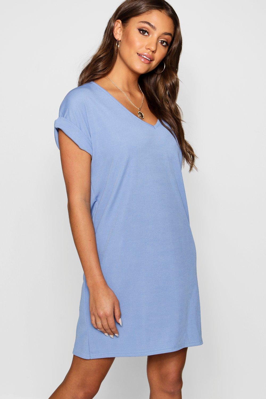 Ribbed V Neck Oversized T-shirt Dress