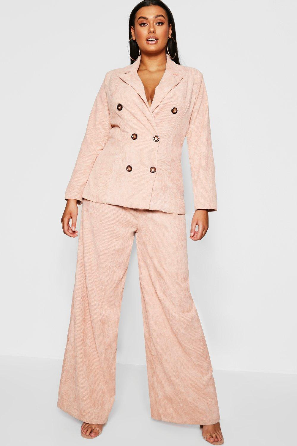 79fa080ea99 Lyst - Boohoo Plus Cord Horn Button Blazer Jacket in Pink