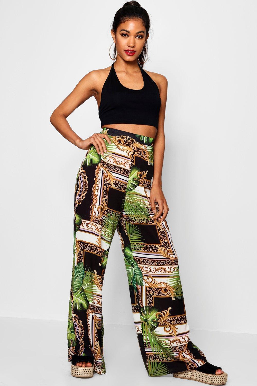 6220868586a4 Boohoo Woven Tropical Chain Wide Leg Trouser in Black - Lyst