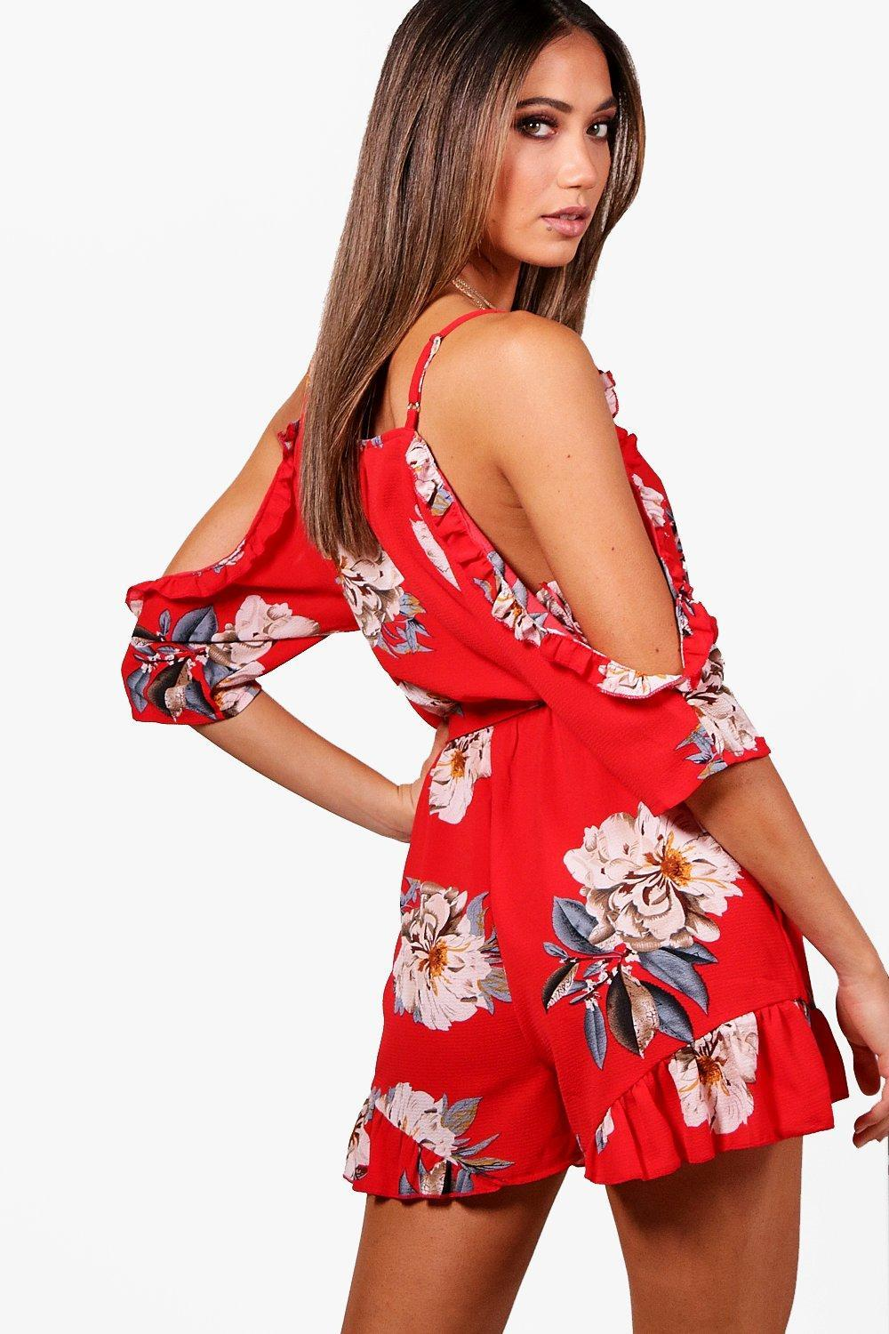 e715fb4b34 Boohoo - Red Floral Open Shoulder Ruffle Playsuit - Lyst. View fullscreen