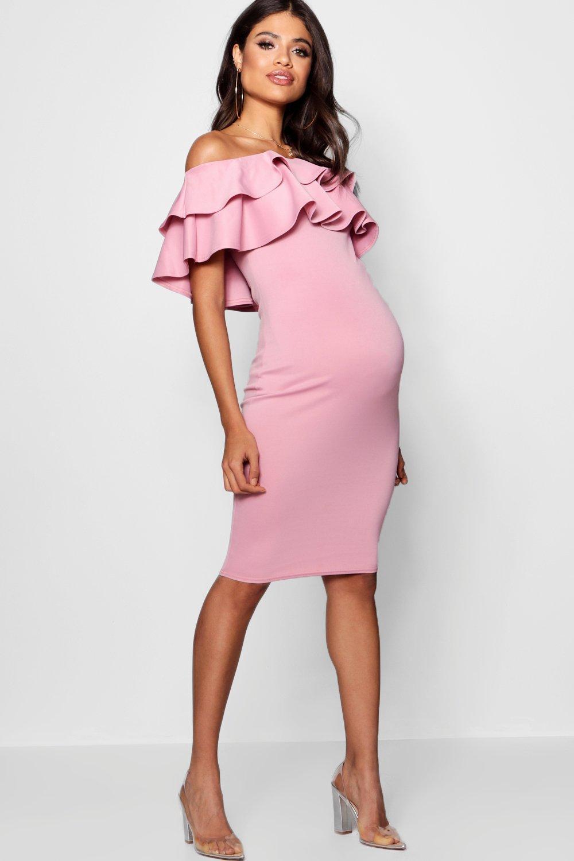 c76d820262379 Boohoo Maternity Ruffle Off The Shoulder Midi Dress in Pink - Lyst