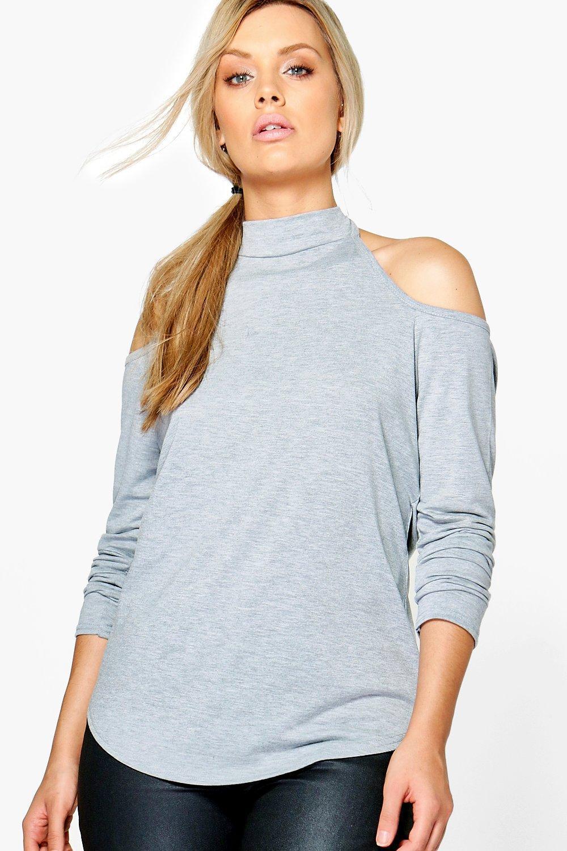 7c1c11cf80f1e6 Lyst - Boohoo Plus Annie High Neck Cold Shoulder Top in Gray