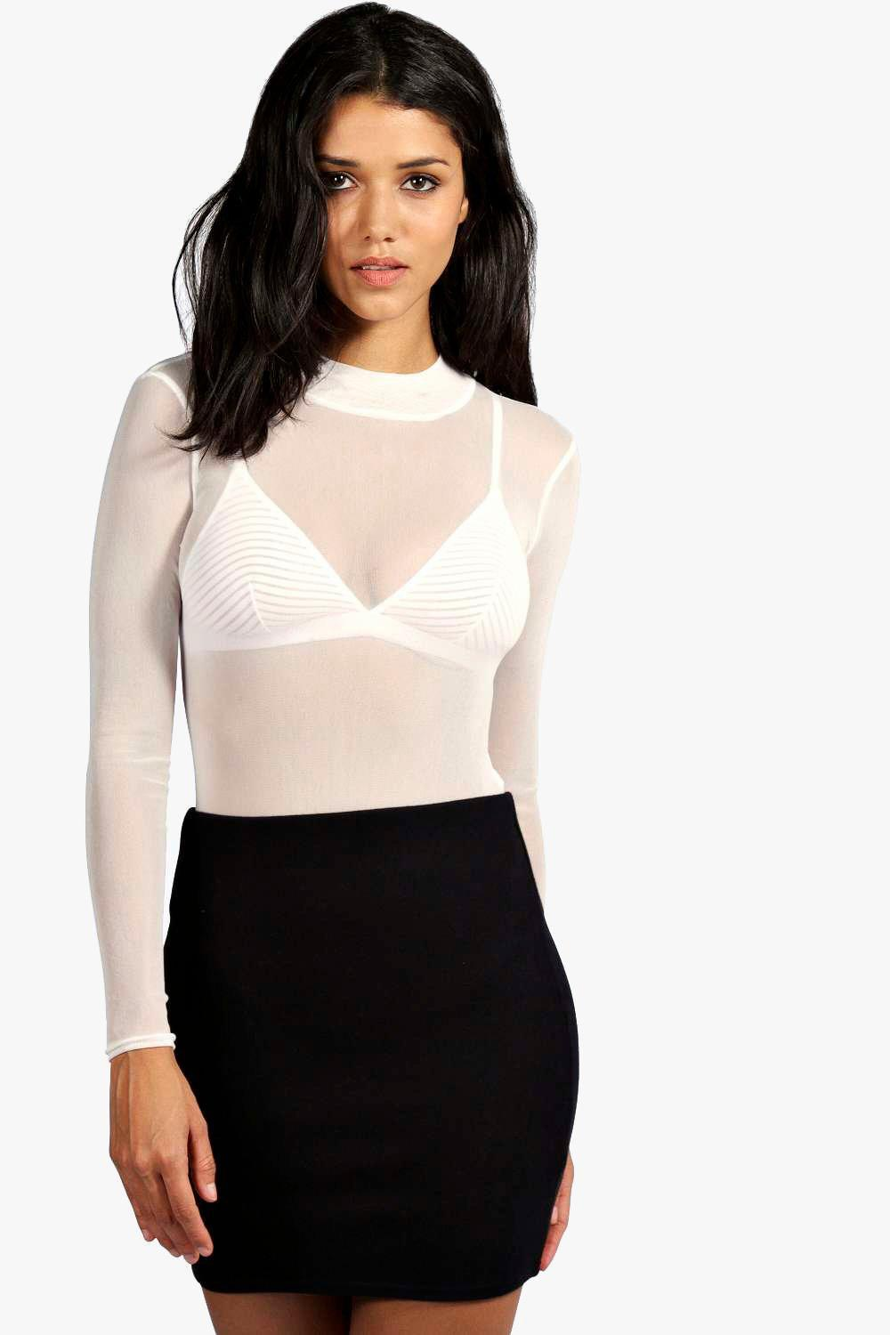 Boohoo Rose Turtle Neck All Over Mesh Bodysuit Discount The Cheapest 1NW0NMl