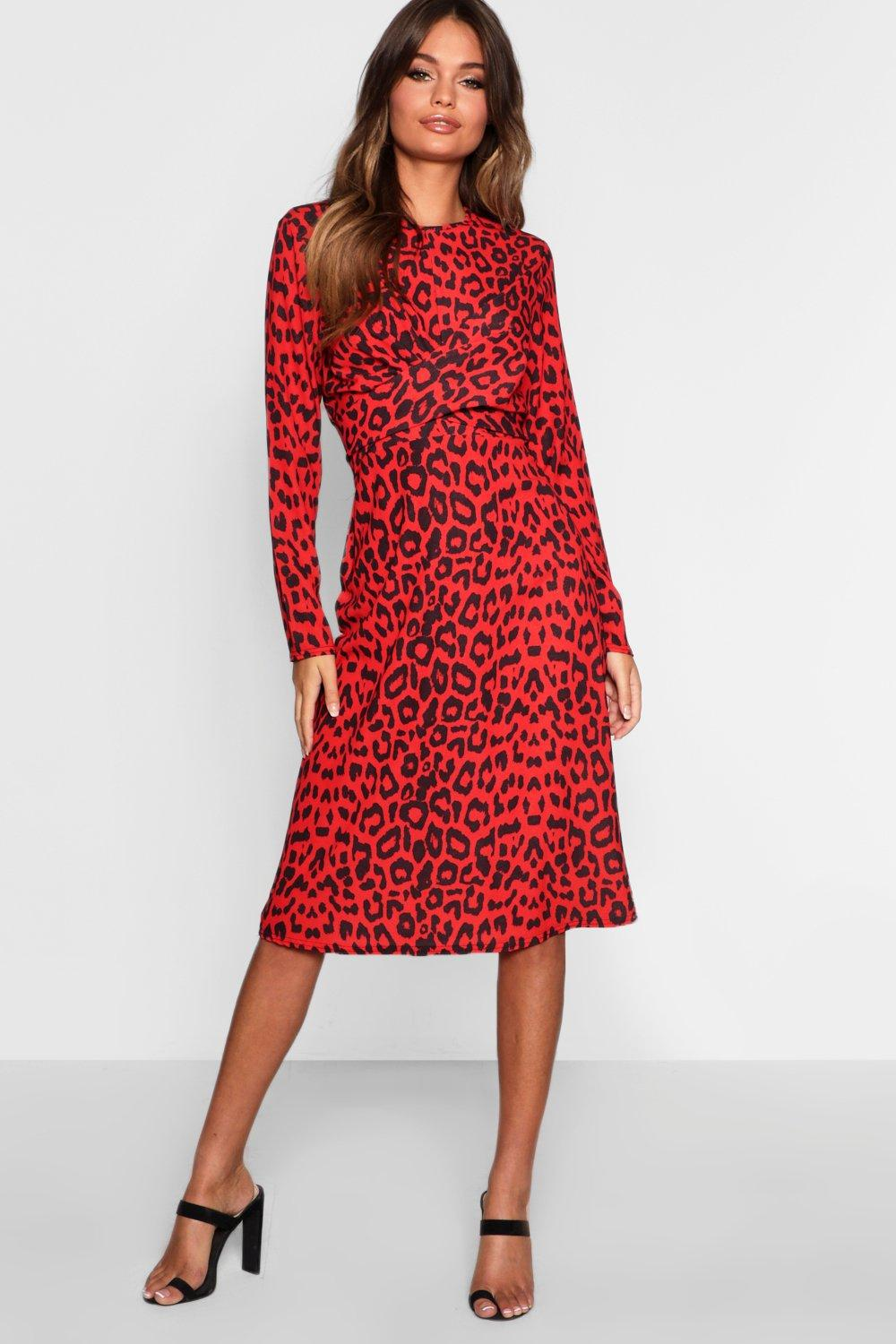 Boohoo Red Leopard Knot Front Skater Dress in Red - Lyst 8c4c880a6
