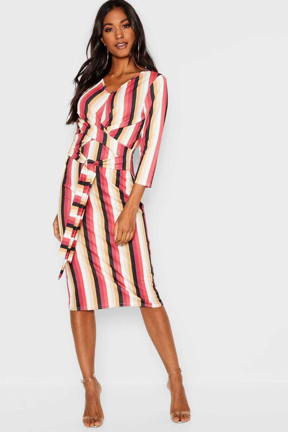 0fa9f1bfa58e Lyst - Boohoo Knot Front Striped Midi Dress in Red