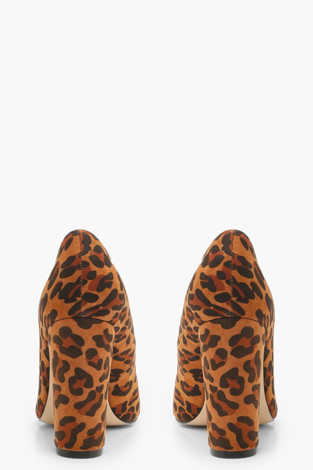 Wide Fit Leopard Block Heel Pointed Court Shoes