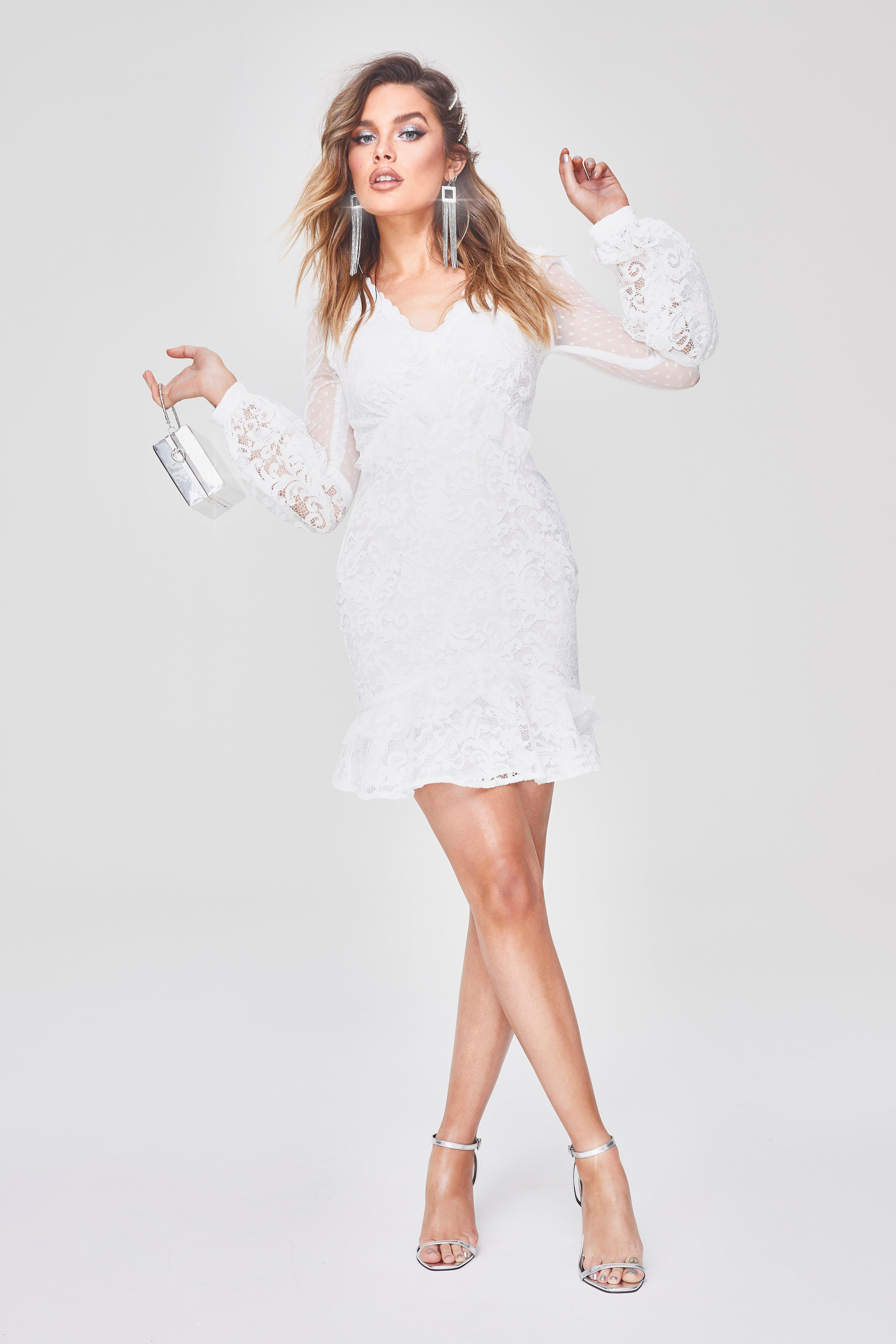 243567f3af88 Boohoo Premium Lace Chiffon Ruffle Mini Dress in White - Lyst