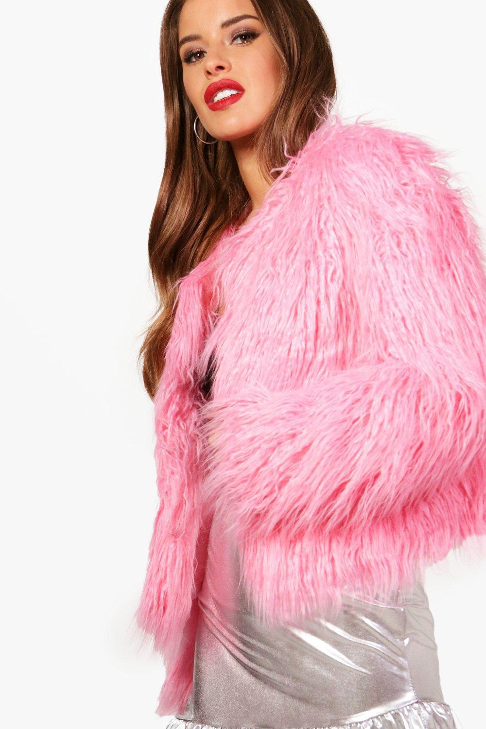 new images of new styles online retailer Petite Edge To Edge Mongolian Faux Fur Coat