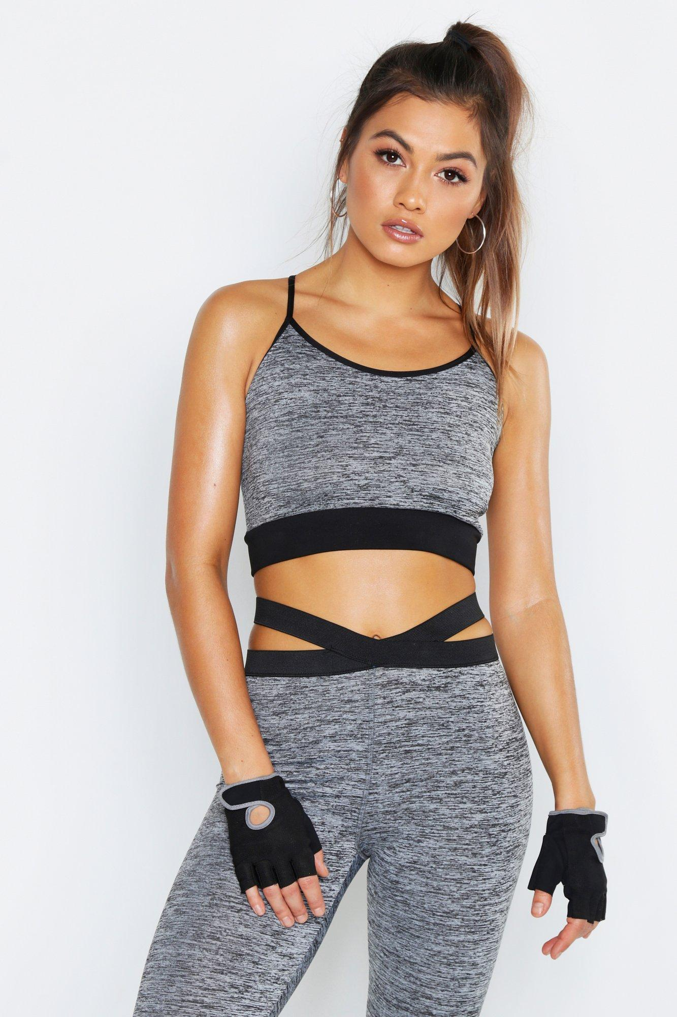 05cc297033 Lyst - Boohoo Fit Basic Breathable Sports Bra in Gray