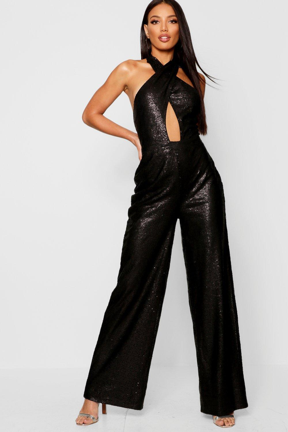 b7b0e4a01ce Boohoo Sequin Halter Neck Wide Leg Jumpsuit in Black - Lyst
