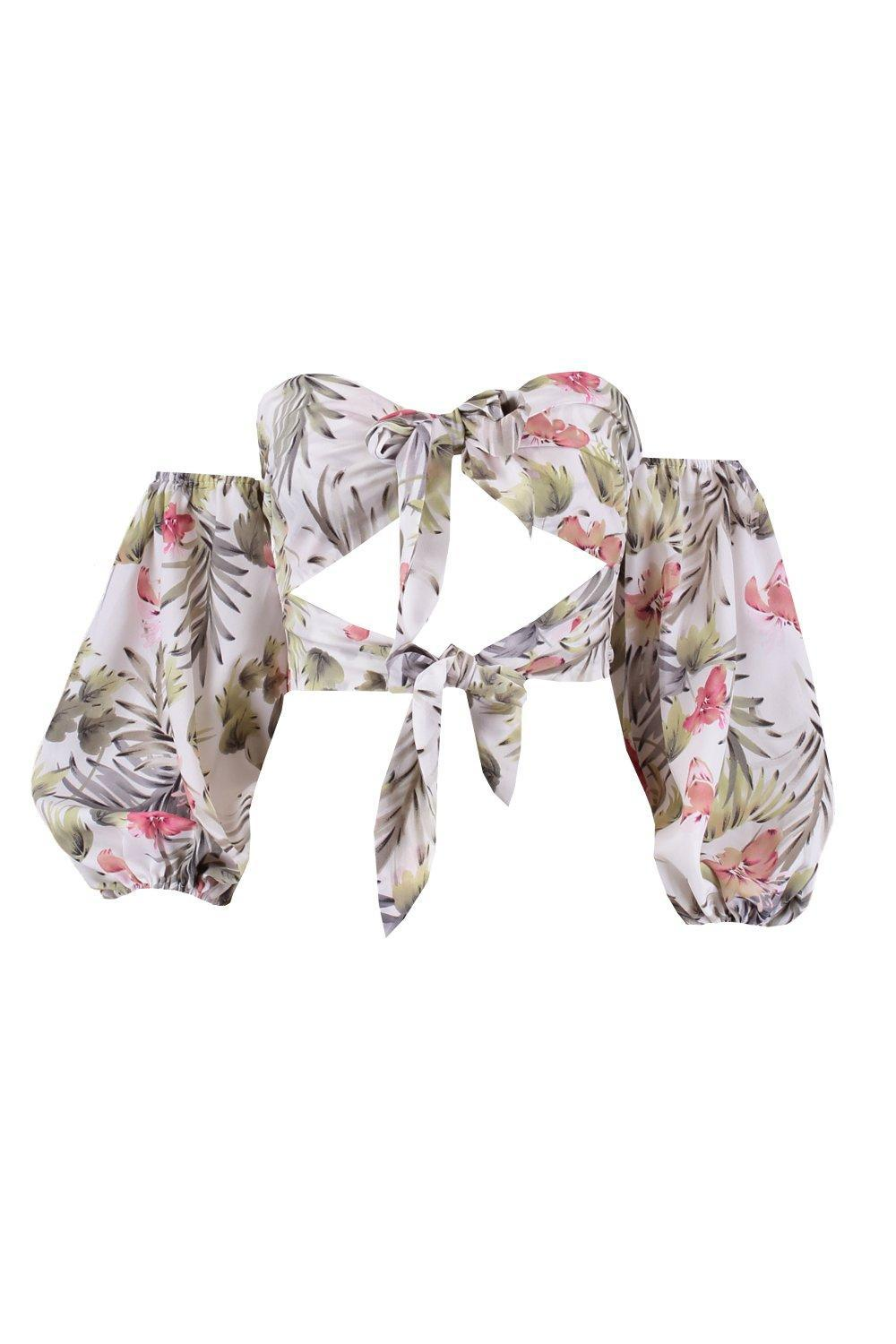 Boohoo Synthetic Tie Front Cut Out Palm Print Bralet in White