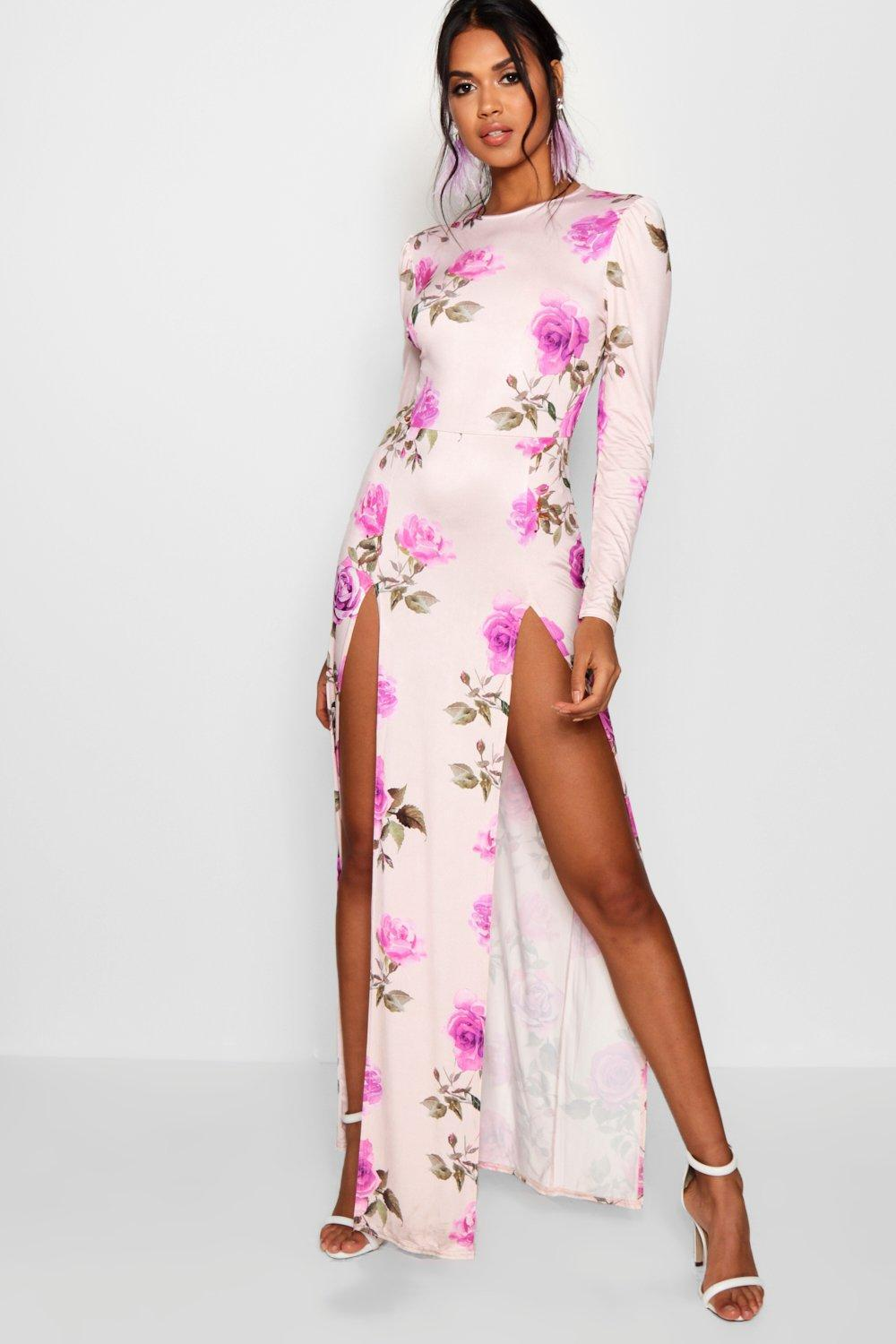 baddcd5d2 Boohoo Floral Long Sleeved Double Split Maxi Dress in Pink - Lyst