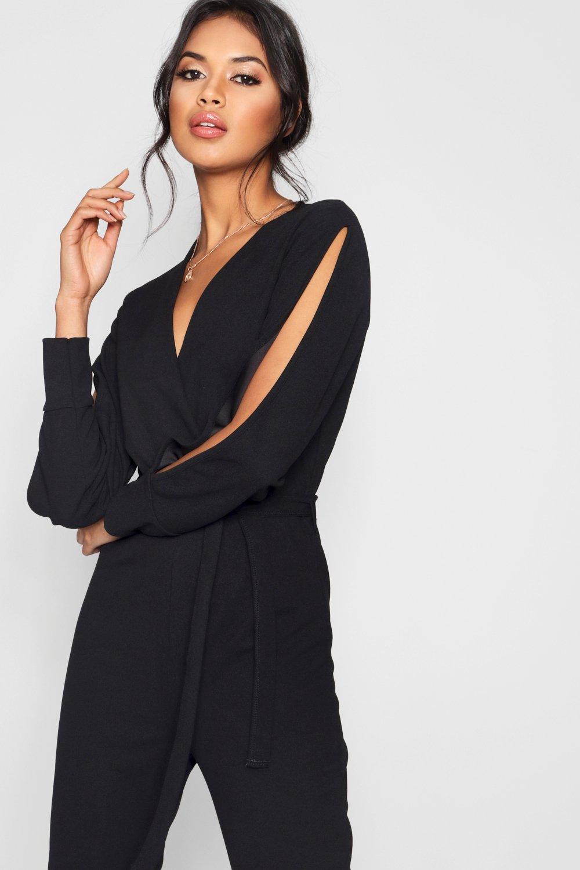 fc793711cc9b Boohoo - Black Split Sleeve Wrap Over Smart Jumpsuit - Lyst. View fullscreen