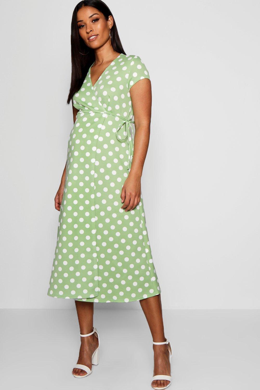 a5f1740d7e7 Boohoo Maternity Polka Dot Wrap Dress in Green - Lyst