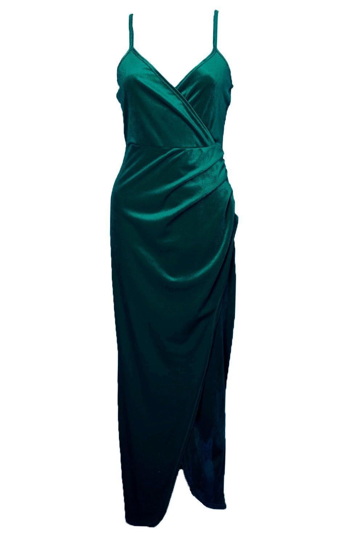 Boohoo Di Velvet Wrap Top Ruched Skirt Maxi Dress in Bottle Green (Green)
