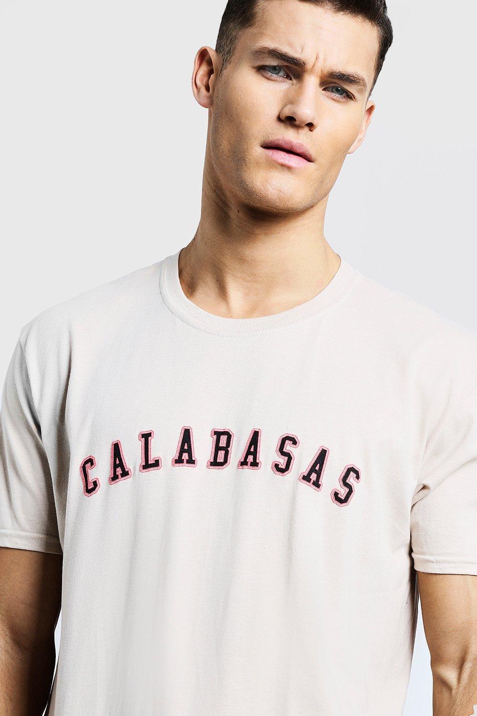 fb74dbc9 Boohoo - Natural Loose Fit Calabasas High Build Print T-shirt for Men - Lyst.  View fullscreen