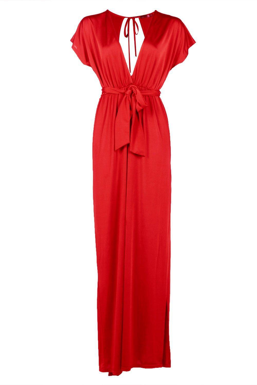 Boohoo Flossie Deep Plunge Tie Waist Maxi Dress in Red