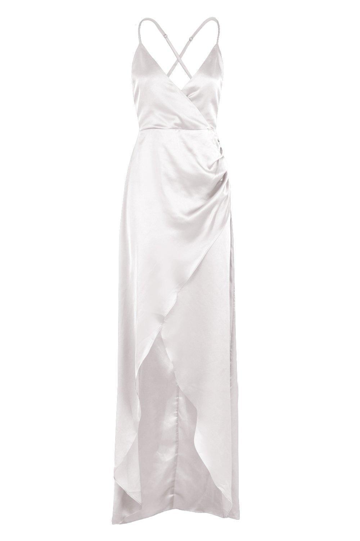 Boohoo Synthetic Boutique Satin Wrap Maxi Dress in Silver (Metallic)