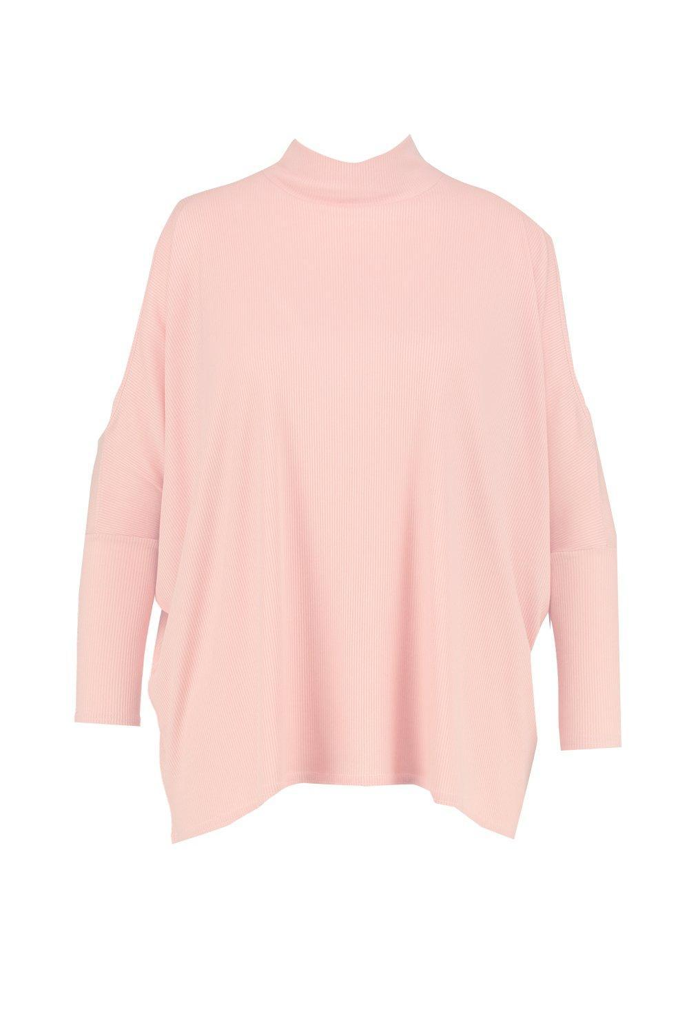 a3013c79ace29 Lyst - Boohoo Plus Alicia High Neck Cold Shoulder Batwing Top in Pink