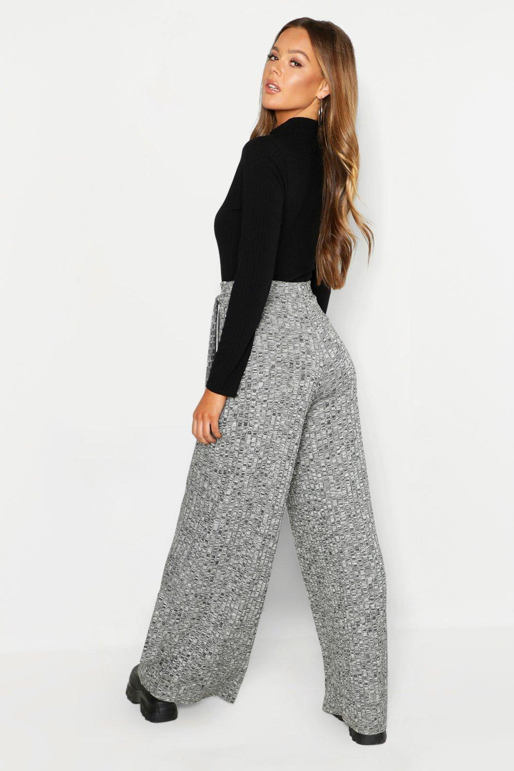 7ac3b6787183 Boohoo - Gray Knitted Rib Tie Waist Wide Leg Trousers - Lyst. View  fullscreen