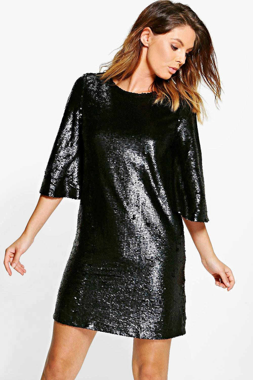 e24be1d469e42 Lyst - Boohoo Boutique Leila All Over Sequin Shift Dress in Black