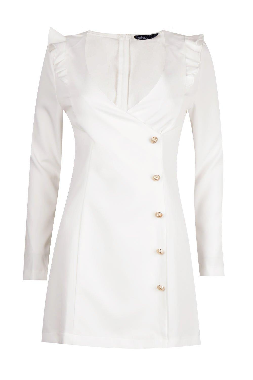 19f1b738aeb3 Boohoo - White Petite Button Detail Blazer Dress - Lyst. View fullscreen