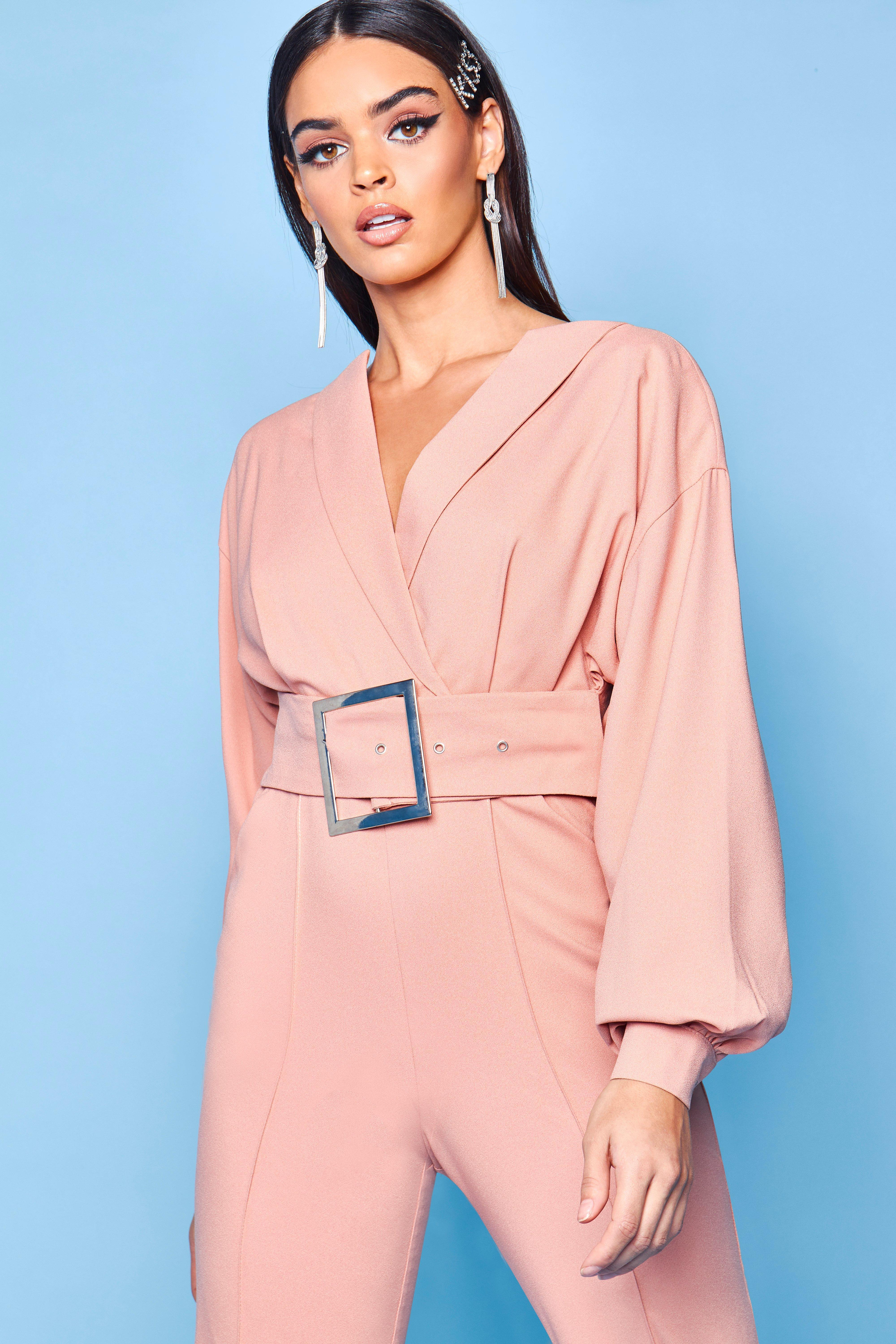 3fc0a0e39d1 Lyst - Boohoo Premium Belted Tailored Jumpsuit in Pink