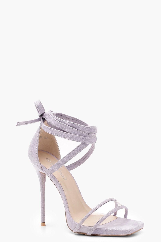 0a7d7f3994 Lyst - Boohoo Clear Strap Wrap Detail Heels in Purple