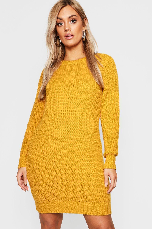 7e27fe9b4f3 Boohoo - Yellow Plus Soft Knit Jumper Dress - Lyst. View fullscreen