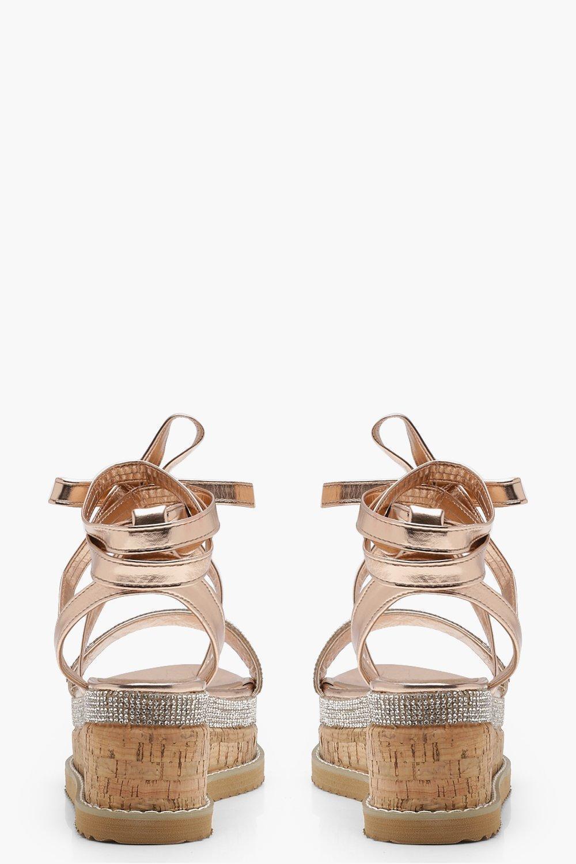 b73ac74486c Boohoo Multicolor Tia Diamante Flatform Espadrille Tie Up Sandals