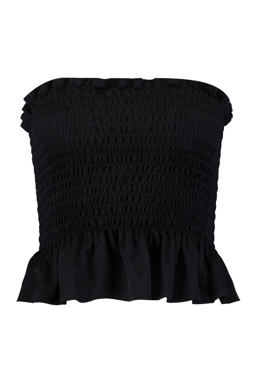 5938ad1374c Boohoo - Black Petite Shirred Bandeau Pep Hem Top - Lyst. View fullscreen