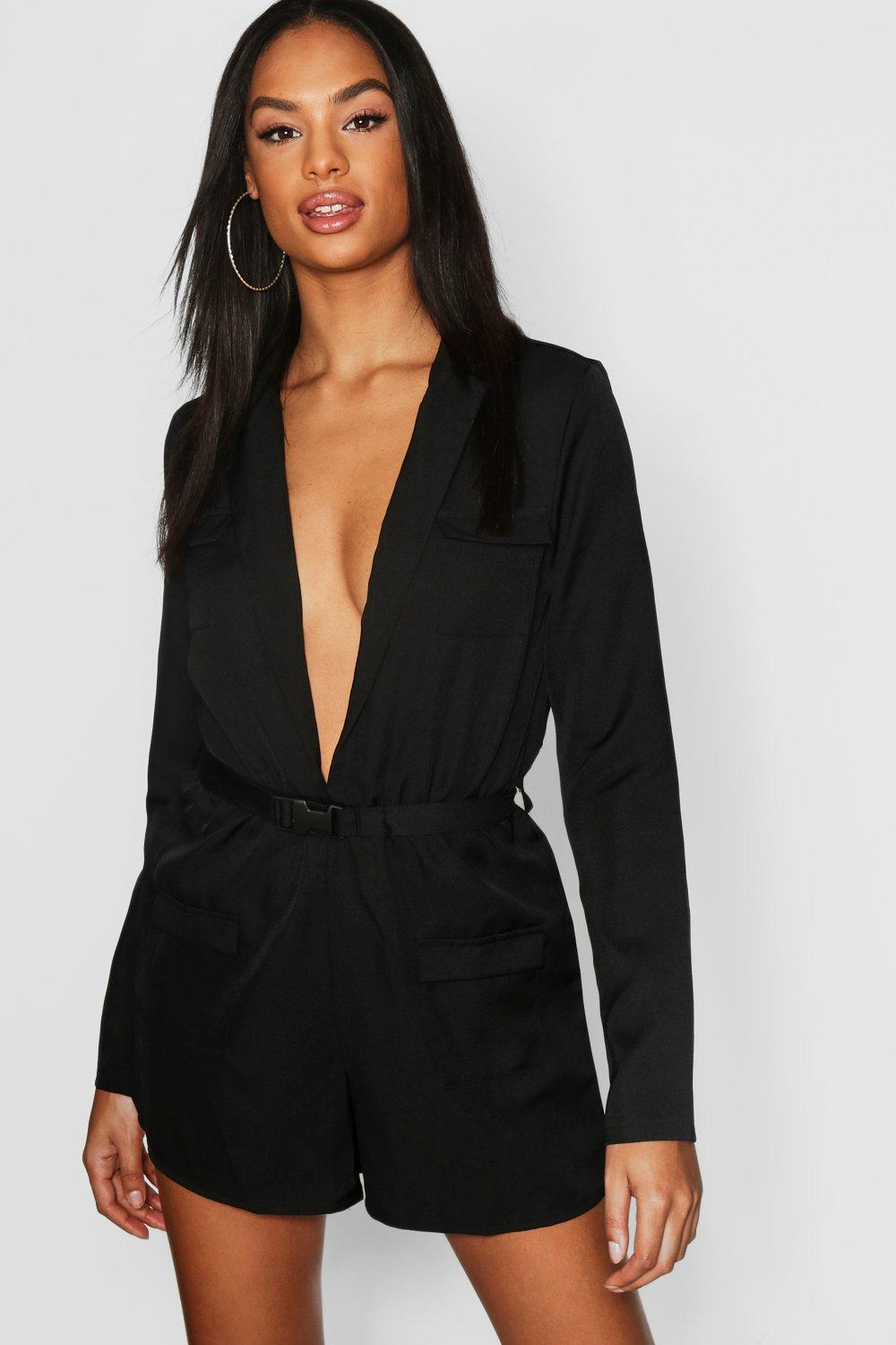 9791d8ffd2 Lyst - Boohoo Tall Utility Style Belted Playsuit in Black
