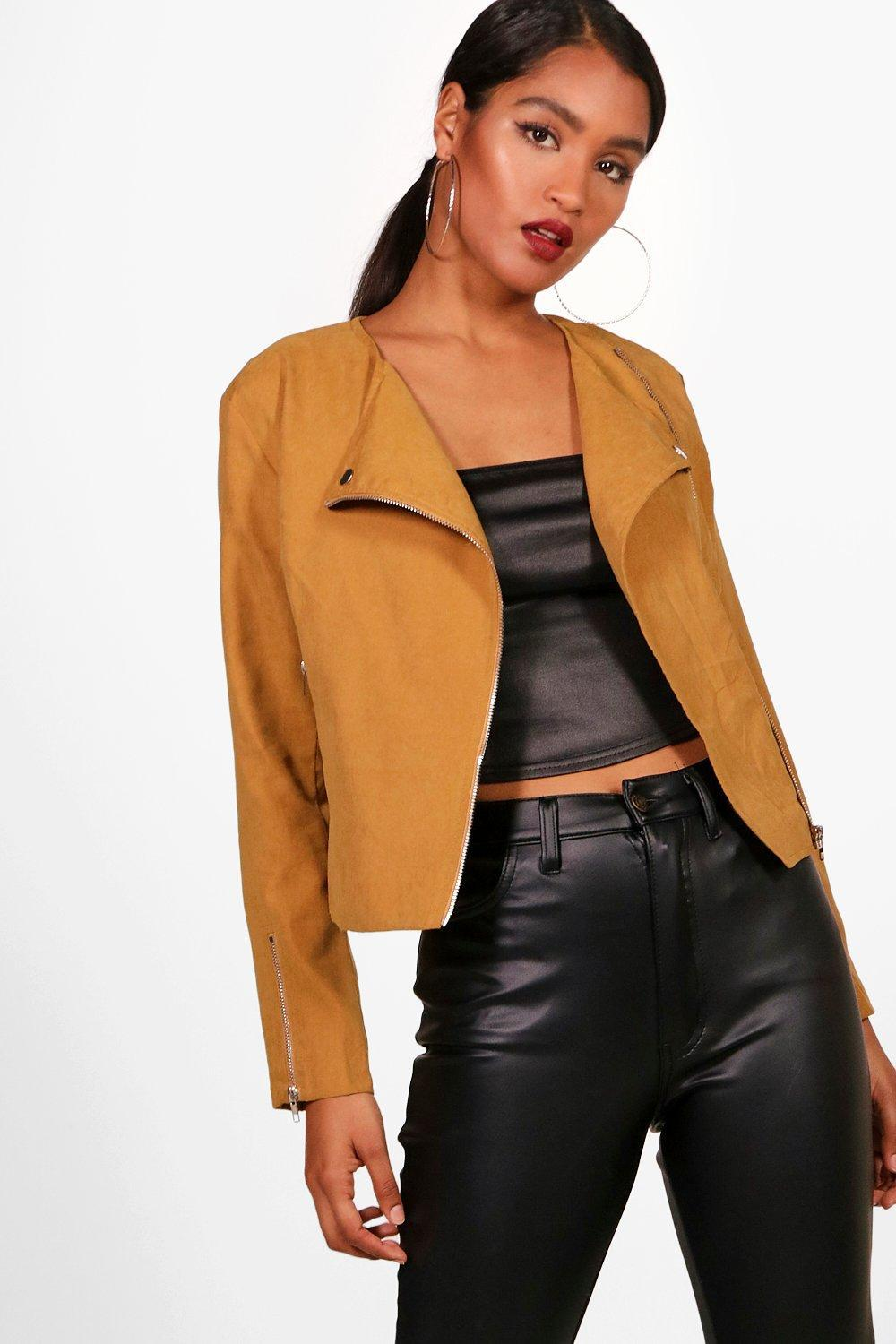 c902a615255 Lyst - Boohoo Suedette Biker Jacket in Brown