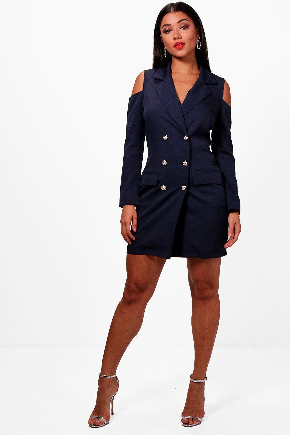 4ae600f801270a Boohoo Cold Shoulder Double Breasted Blazer Dress in Blue - Lyst