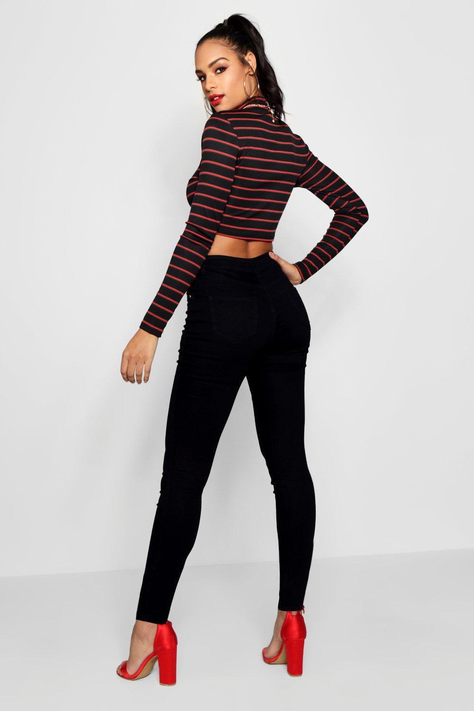 Boohoo Denim Womens Corset Lace-up High Waist Skinny Jeans - Black - 4