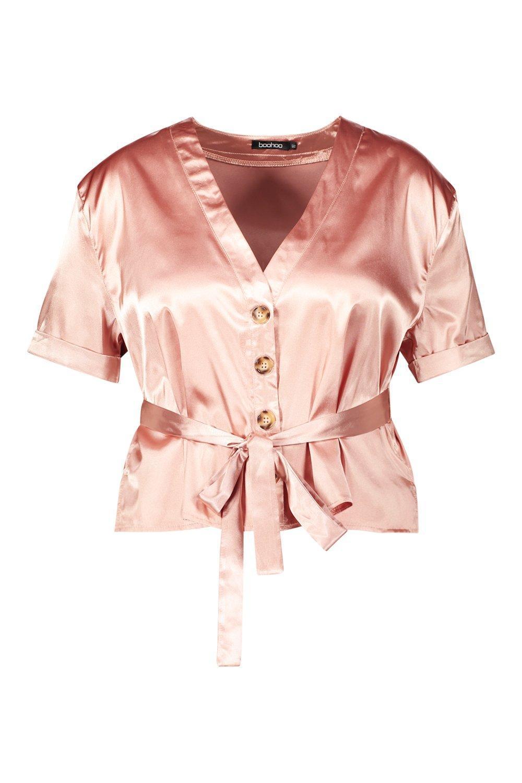 5f304d644865c8 Lyst - Boohoo Plus Satin Button Tie Waist Blouse in Pink