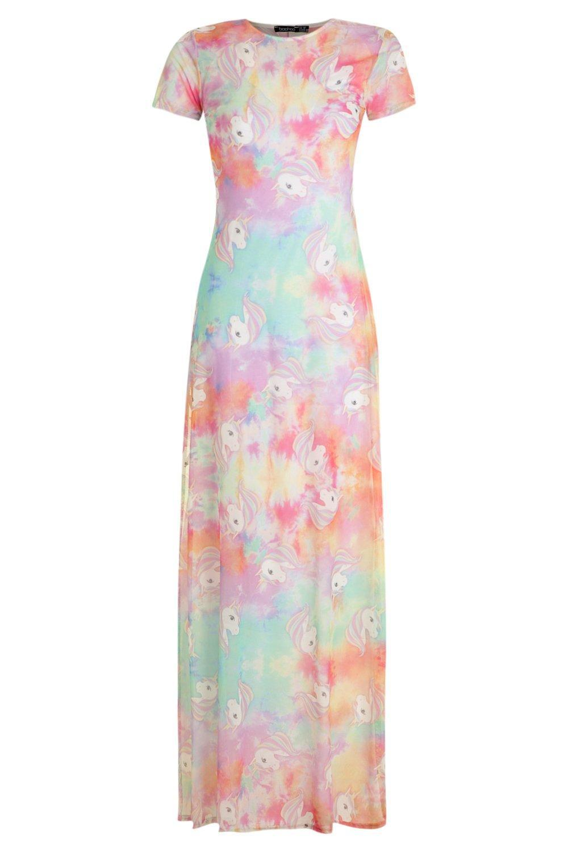 f39d9a5ae9b Lyst - Boohoo Unicorn Tie Dye Printed Mesh Maxi Dress