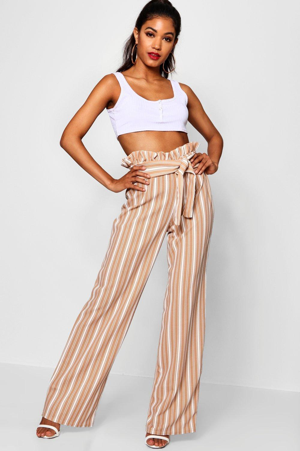 8380e3864b5f4 Boohoo. Women's Crepe Stripe Paperbag Wide Leg Trousers