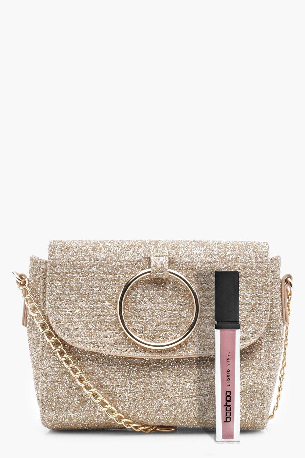 Boohoo Antoinette O Ring Metallic Cross Body Bag
