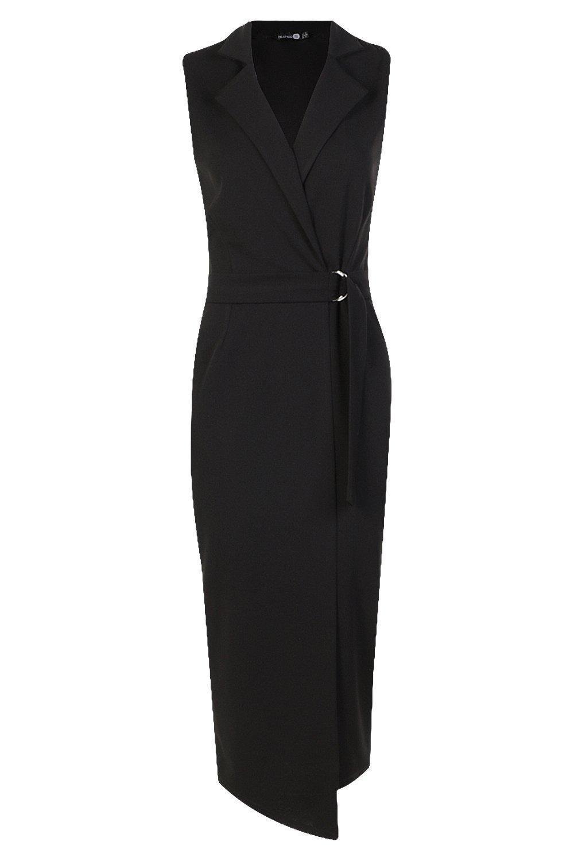56b0a0cdcd33a Lyst - Boohoo Tall Sleeveless Blazer Dress in Black